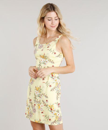 Vestido-Feminino-Curto-Estampado-Floral-com-No-Decote-Redondo-Amarelo-Claro-9256669-Amarelo_Claro_1