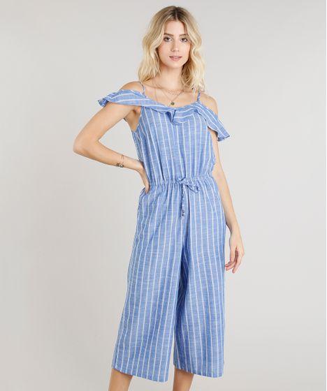 ed684ec8d Macacao-Feminino-Pantacourt-Open-Shoulder-Listrado-Azul-9251884- ...
