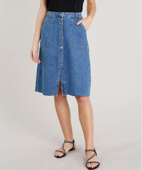 d4cd7bd18 Saia Jeans Feminina Midi com Botões Azul Médio - cea
