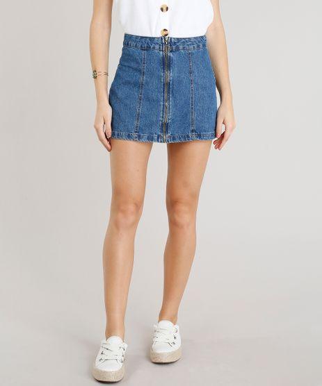 Saia-Jeans-Feminina-com-Ziper-de-Argola-Azul-Medio-9346406-Azul_Medio_1