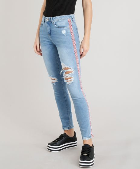 Calca-Jeans-Feminina-Skinny-com-Rasgos-e-Faixa-Lateral-Azul-Claro-9365626-Azul_Claro_1