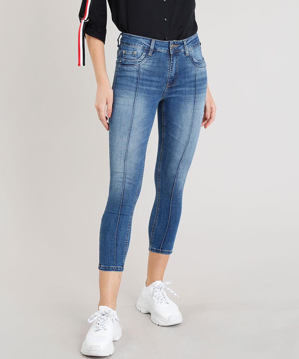 2316a986f Calça Jeans Feminina Sawary Cropped Azul Médio - ceacollections