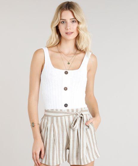Regata-Feminina-em-Trico-Canelada-com-Botoes-Decote-Redondo-Off-White-9332817-Off_White_1