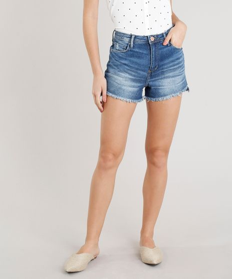 Short-Jeans-Feminino-Vintage-com-Barra-Desfiada-Azul-Escuro-9354766-Azul_Escuro_1