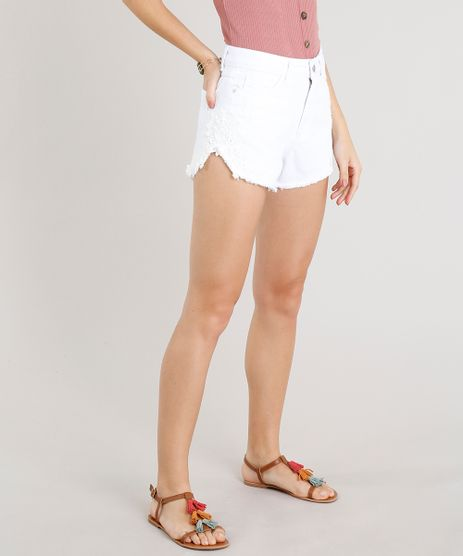 Short-de-Sarja-Feminino-Hot-Pant-com-Renda-Branco-9352647-Branco_1