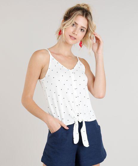 Regata-Feminina-Estampada-de-Poas-com-No-e-Botoes-Decote-V-Off-White-9269602-Off_White_1