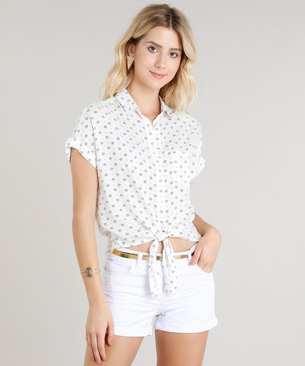 Camisa Feminina Estampada com Nó e Bolso Manga Curta Off White ... 2fe8b035c6096