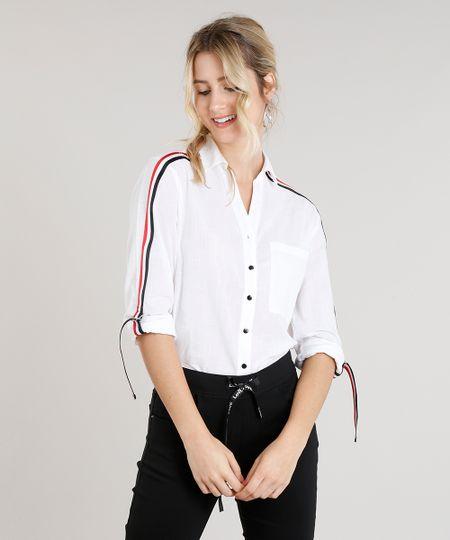 f28461267 Menor preço em Camisa Feminina Faixa Lateral com Bolso Manga Longa Off White