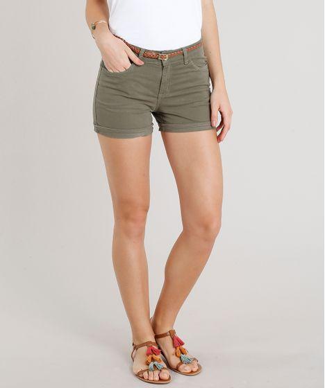 8d46a49d5 Short de Sarja Feminino Reto com Cinto Trançado Verde Militar - cea