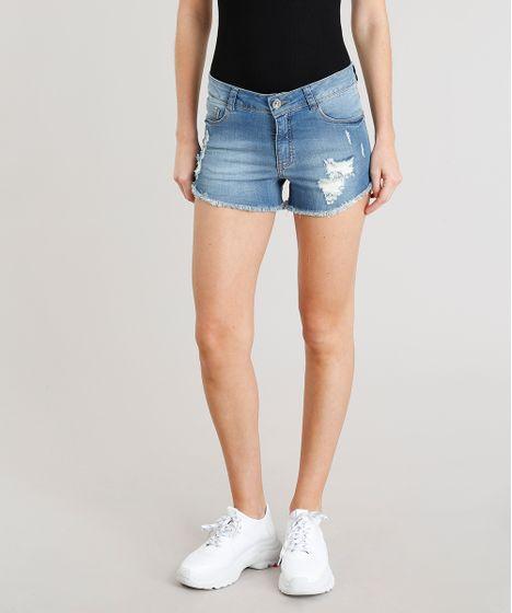 8051201a6 Short jeans feminino reto destroyed barra desfiada azul claro cea jpg  468x560 Short jeans barra desfiada