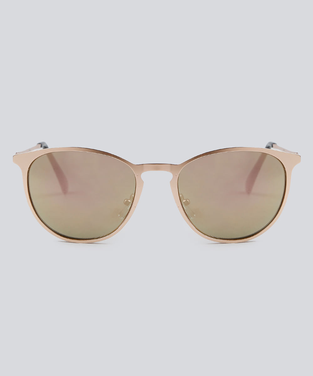 0e82e1091b Óculos de Sol Redondo Feminino Oneself Dourado - ceacollections
