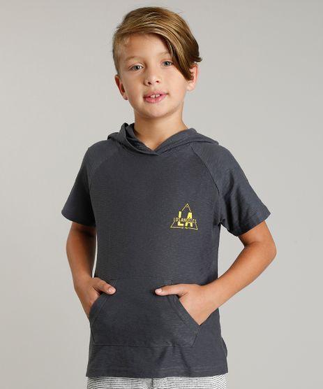 Camiseta-Infantil--Los-Angeles--com-Capuz-e-Bolso-Manga-Curta-Chumbo-9233995-Chumbo_1