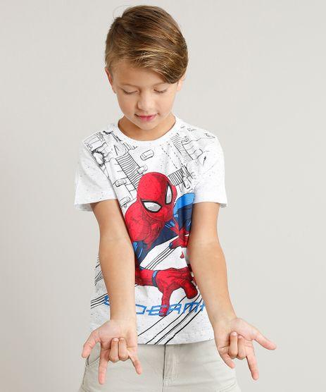Camiseta-Infantil-Homem-Aranha-Manga-Curta-Gola-Careca-Cinza-Mescla-Claro-9301682-Cinza_Mescla_Claro_1
