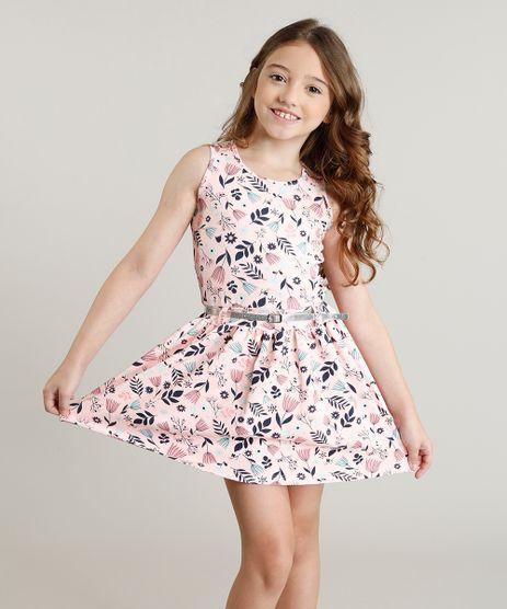 Vestido-Infantil-Evase-Estampado-Floral-com-Cinto-Sem-Manga-Rosa-9341709-Rosa_1