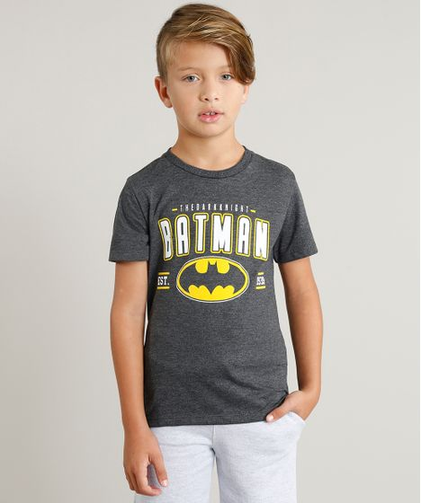Camiseta Infantil Batman Liga da Justiça Manga Curta Gola Careca ... 2831aec0af1