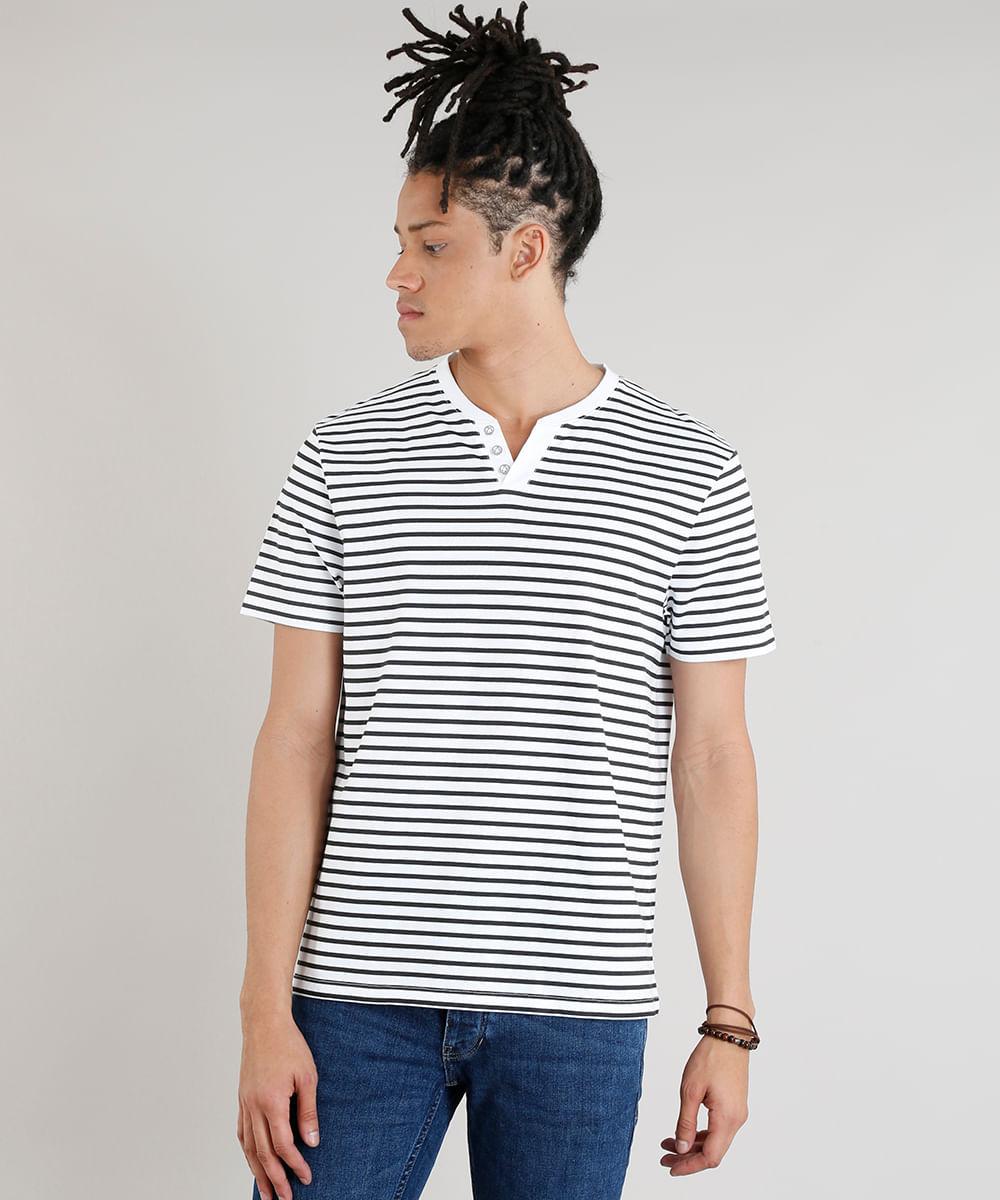 2a8e1c225 Camiseta Masculina Básica C2C Listrada Manga Curta com Botões Branca ...