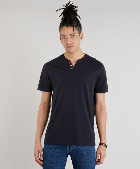 Camiseta-Masculina-Basica-C2C-Manga-Curta-com-Botoes-Preta-9267335-Preto_1