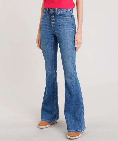Calca-Jeans-Feminina-Flare-C2C-com-Botoes-Azul-Escuro-9241732-Azul_Escuro_1