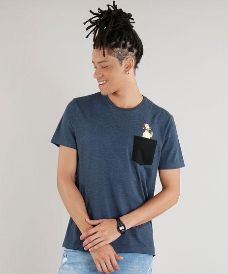 Camiseta-Masculina-Homer-Simpson-com-Bolso-Manga-Curta-Gola-Careca-Azul-Marinho-9277750-Azul_Marinho_1
