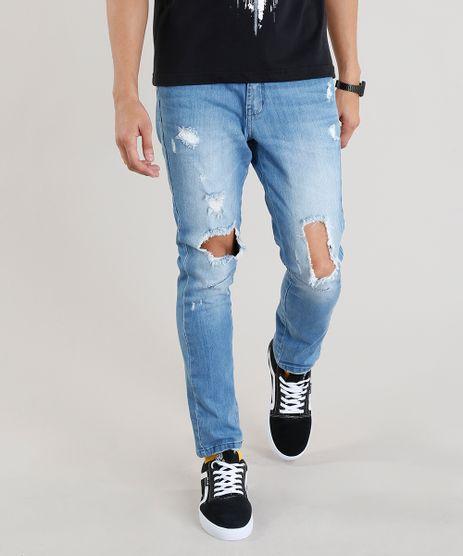 693e541cb3 Calca-Jeans-Masculina-Carrot-Destroyed-Azul-Claro-9305827-