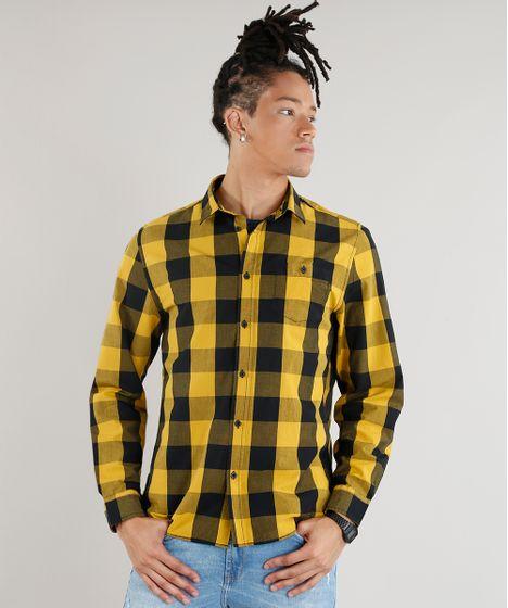 Camisa Masculina Xadrez com Bolso Manga Longa Amarela - cea e66c727a996