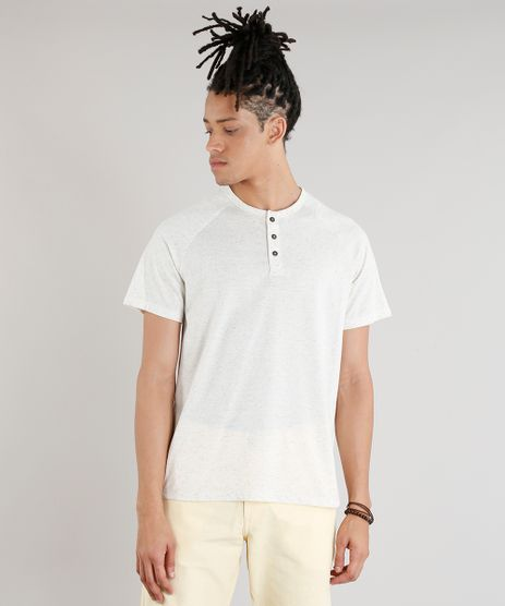 Camiseta-Masculina-com-Botoes-em-Linho-Manga-Curta-Gola-Careca-Bege-Claro-9249172-Bege_Claro_1