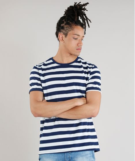733c4ee568 Camiseta Masculina Básica Listrada Manga Curta Gola Careca Azul ...