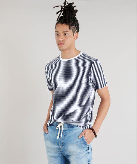6a4a64be47f67 Camiseta Masculina Básica Listrada Manga Curta Gola Careca Branca - cea