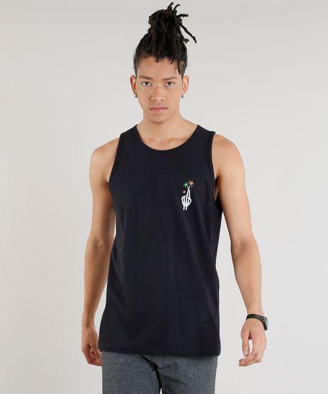 Regata-Masculina-com-Estampa-de-Esqueleto-Gola-Careca-Preta-9315250-Preto_1
