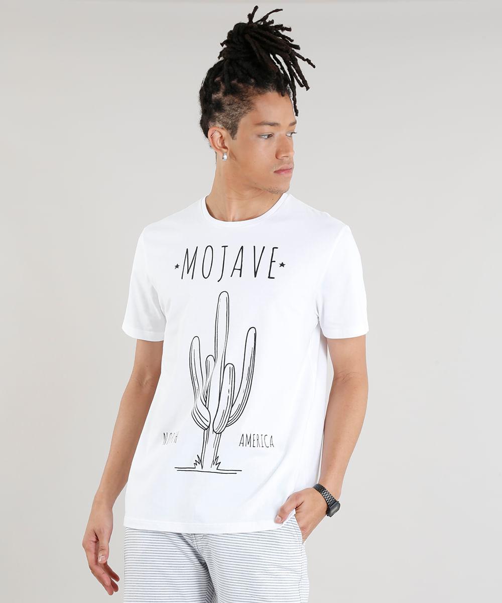 9197d1e5ec Camiseta Masculina Cacto Mojave Manga Curta Gola Careca Off White - cea