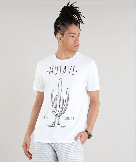 33108fe17 Camiseta Masculina Cacto Mojave Manga Curta Gola Careca Off White - cea