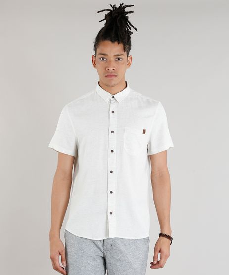 Camisa-Masculina-com-Bolso-em-Linho-Manga-Curta-Bege-Claro-9334909-Bege_Claro_1