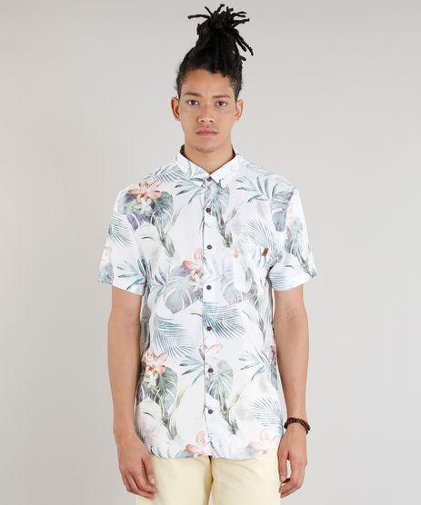 Camisa-Masculina-Estampada-de-Folhas-com-Bolso-Manga-Curta-Off-White-9334907-Off_White_1