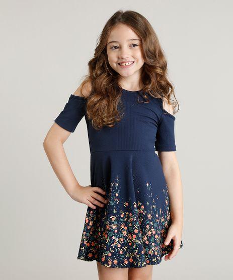 Vestido-Infantil-Open-Shoulder-com-Estampa-de-Flores-Manga-Curta-Azul-Marinho-9245413-Azul_Marinho_1