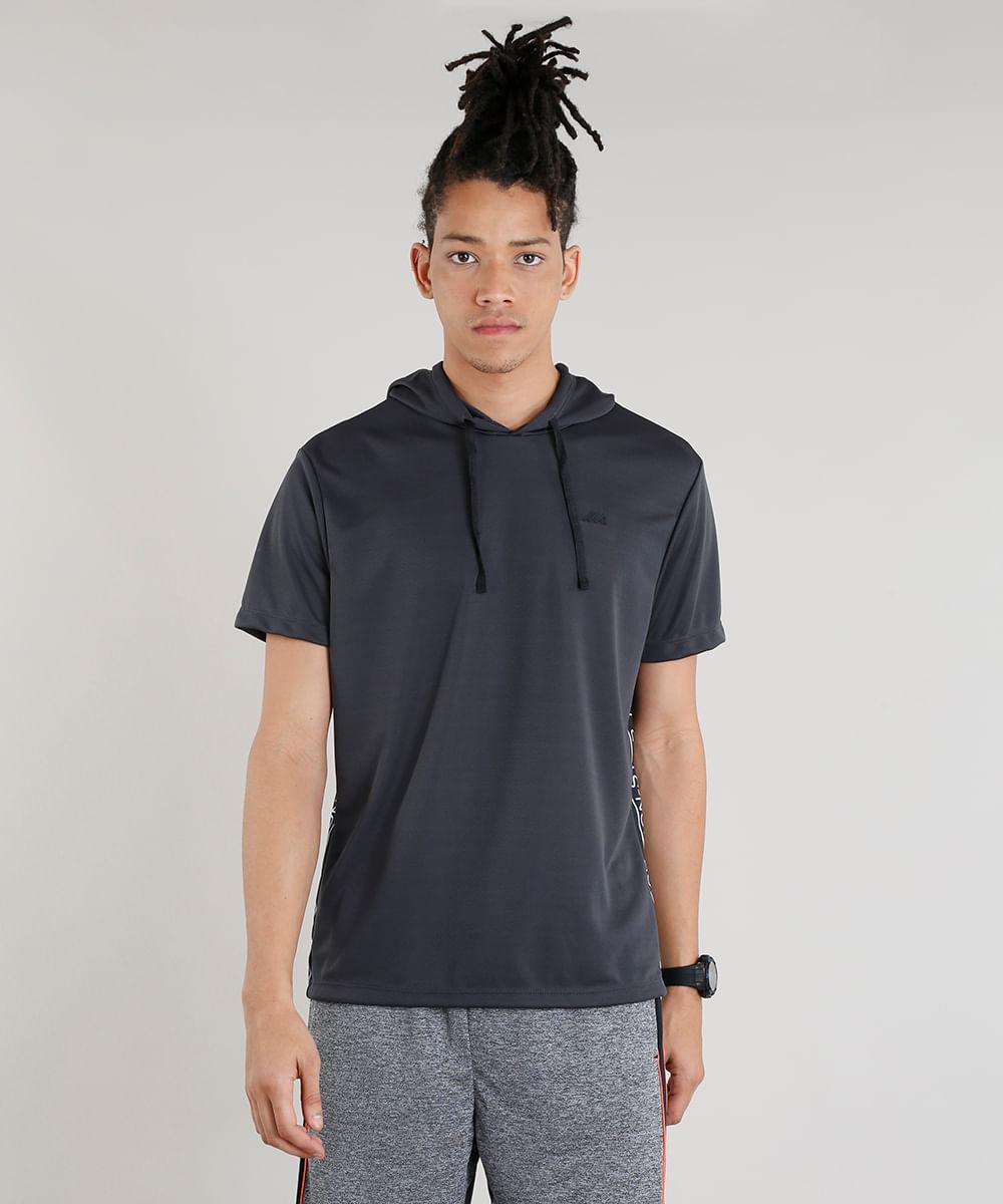 ba92193428 Camiseta Masculina Esportiva Ace com Faixa Lateral e Capuz Manga Curta  Chumbo