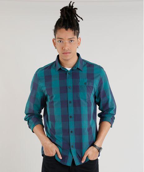 Camisa-Masculina-Xadrez-com-Bolso-Manga-Longa-Verde-8448777-Verde_1