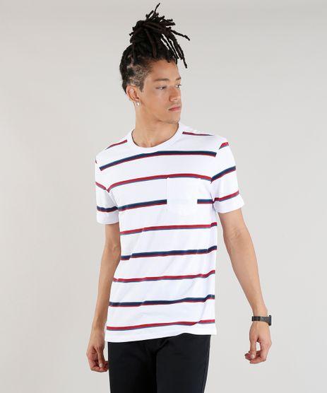 Camiseta-Masculina-Listrada-com-Bolso-Manga-Curta-Gola-Careca-Branca-9286914-Branco_1