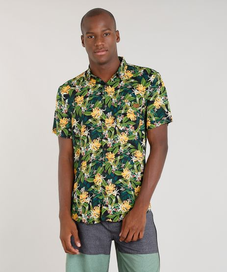 Camisa-Masculina-Blueman-Estampada-Banana-com-Bolso-Manga-Curta-Preta-9334913-Preto_1