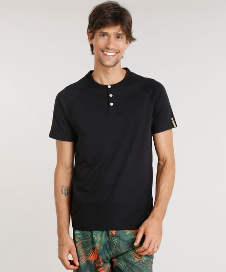 Camiseta-Masculina-Agua-de-Coco-com-Botoes-Manga-Curta-Gola-Careca-Preta-9282779-Preto_1
