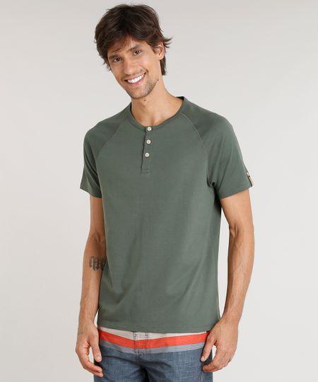 951cc17ea2941 Menor preço em Camiseta Masculina Água de Coco com Botões Manga Curta Gola  Careca Verde Escuro