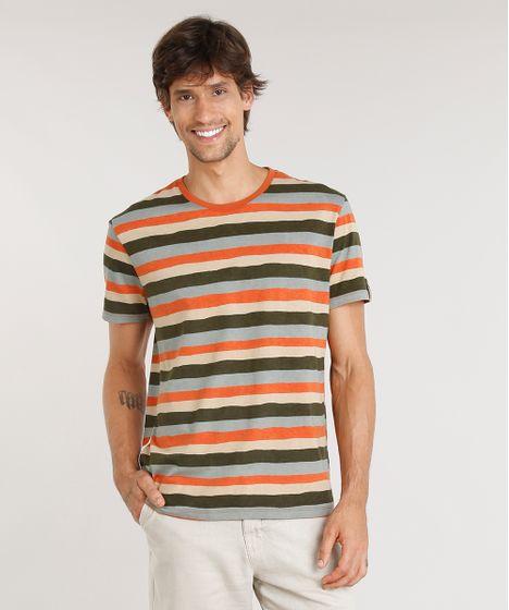 0a4e63439 Camiseta Masculina Água de Coco Estampada Listrada Manga Curta Gola ...