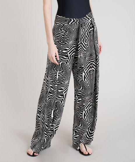 Calca-Pantalona-Feminina-Lenny-Niemeyer-Estampada-Zebra-com-Amarracao-com-Protecao-UV50--Preta-9274135-Preto_1