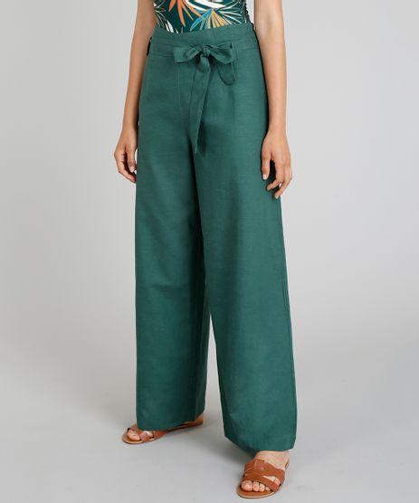 Calca-Pantalona-Feminina-Cia--Maritima-com-Faixa-para-Amarracao-Verde-Escuro-9274620-Verde_Escuro_1