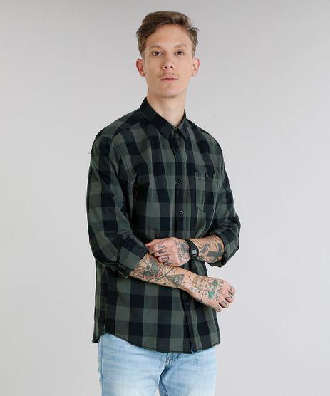 Camisa-Masculina-Xadrez-com-Bolso-Manga-Longa-Verde-Militar-8448777-Verde_Militar_1