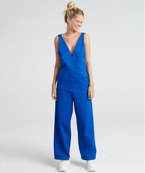 57d5615a0 Macacão de Sarja Pantalona Feminino Mindset Longo Decote V Azul ...