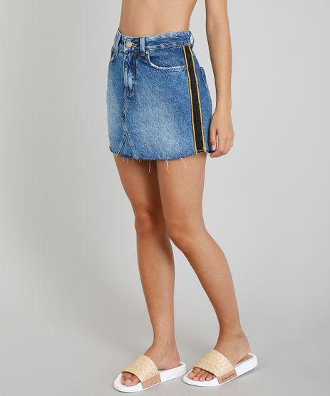 Saia-Jeans-Feminina-Blueman-Faixa-Lateral-Azul-Medio-9331768-Azul_Medio_1