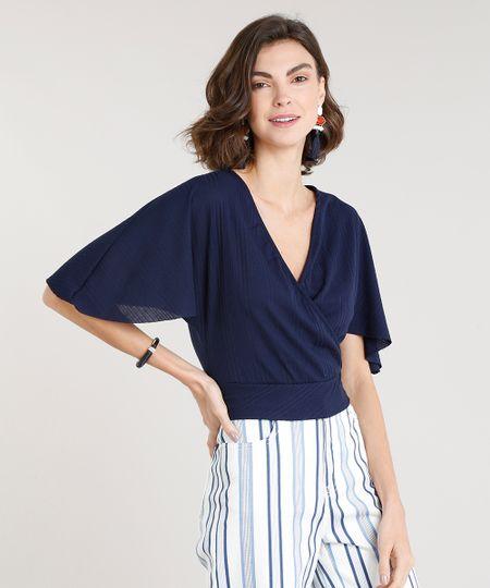 6263c06143 Menor preço em Blusa Feminina Cropped Canelada Transpassada Manga Curta  Decote V Azul Marinho