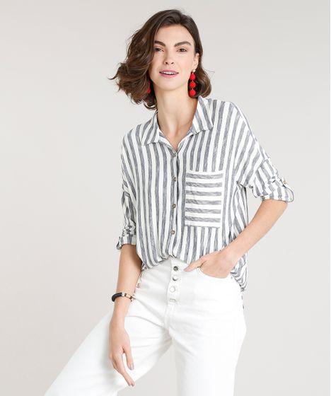 a3db702b3 Camisa Feminina Listrada com Bolso Manga Longa Off White - cea