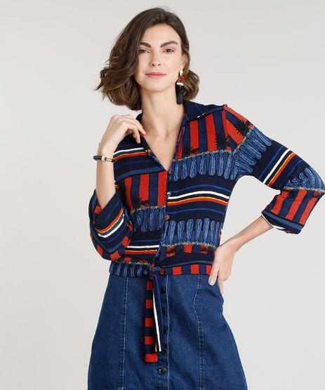 Camisa-Feminina-Canelada-Listrada-com-No-Manga-Longa-Azul-Marinho-9306036-Azul_Marinho_1