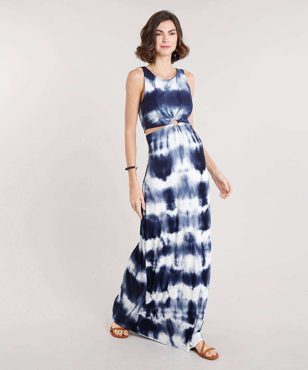 7a1d5a697 Vestido Feminino Longo Canelado Estampado Tie Dye com Argola e Vazado Azul  Marinho